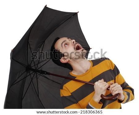 Man with big umbrella, on white - stock photo