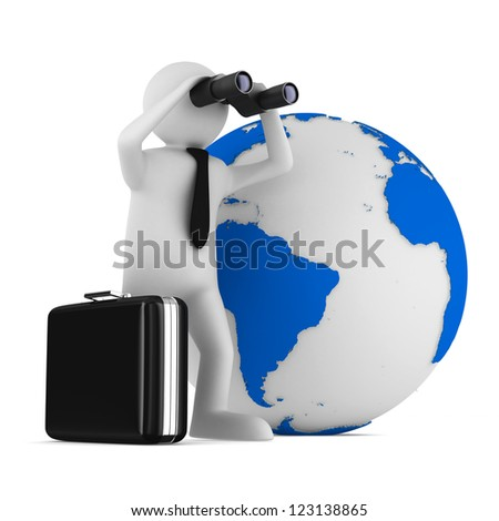 man with binocular on white background. Isolated 3d image - stock photo