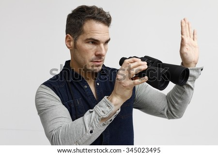 man with binoculars, binoculars, man watch, man and binoculars, explorers, researchers, observers