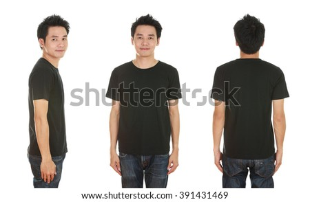 man with blank black t-shirt isolated on white background
