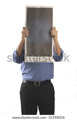 Man with Blank Newspaper