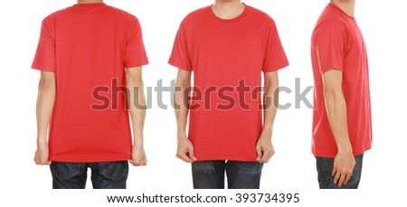 man with blank red t-shirt isolated on white background - stock photo