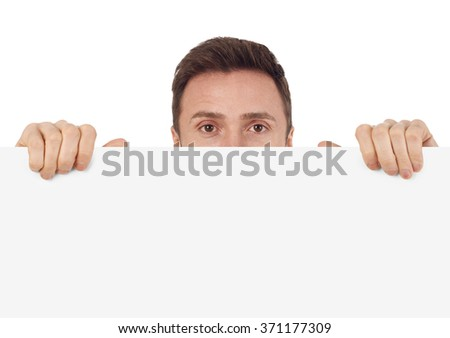 Man with blank sign - stock photo