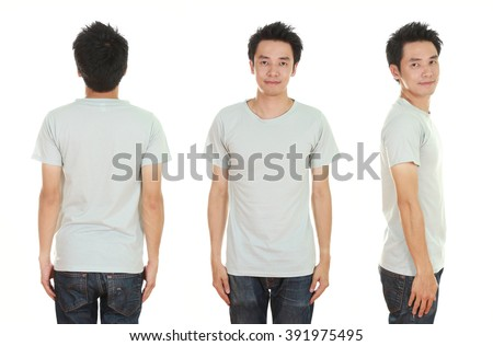 man with blank t-shirt isolated on white background