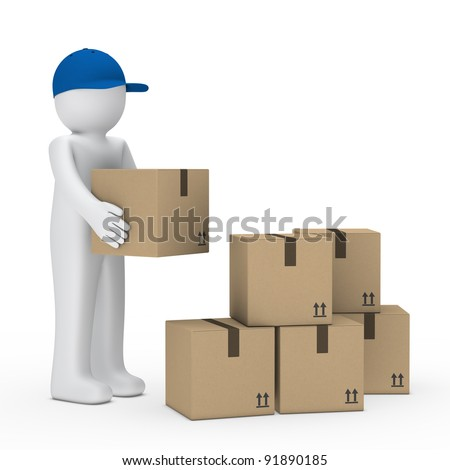 man with blue cap stack brown package - stock photo
