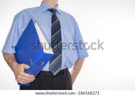 man with blue document folders in arm - stock photo