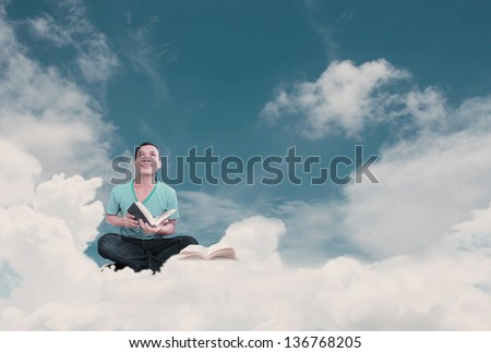 Man With Book Concept Part  3,Reading On The Top - stock photo