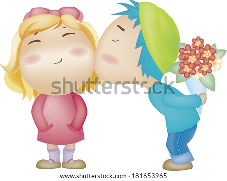 Man with bouquet kissing woman - stock photo