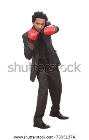 Man with boxing gloves - stock photo