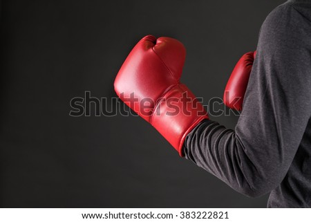 man with boxing gloves .Photo for magazine ,or design work