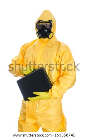 Man with briefcase in protective hazmat suit. Isolated on white. - stock photo
