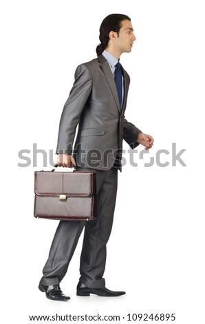 Man with briefcase on white