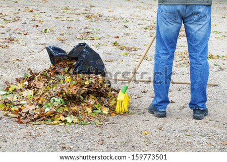 Man with brush near rake and leaves - stock photo