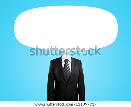 man with  bubbles speech instead of head  on blue background - stock photo