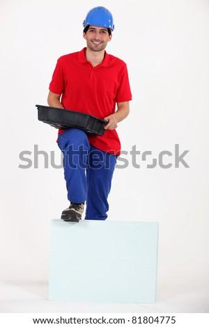 Man with bucket - stock photo