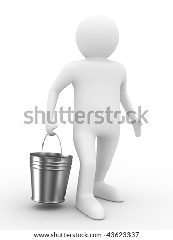 Man with bucket on white background. Isolated 3D image - stock photo
