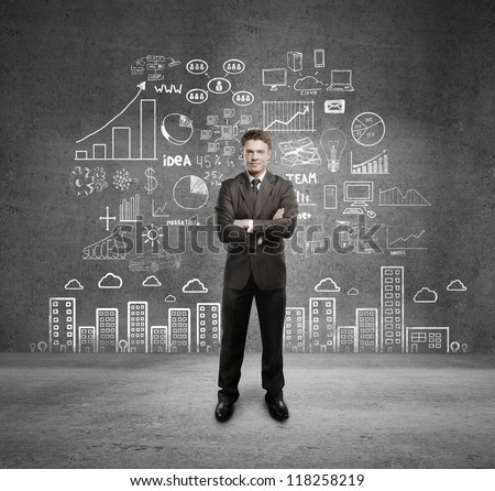 man with business plan - stock photo