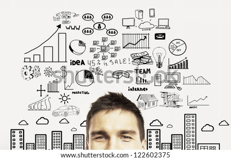 man with business plan concept - stock photo