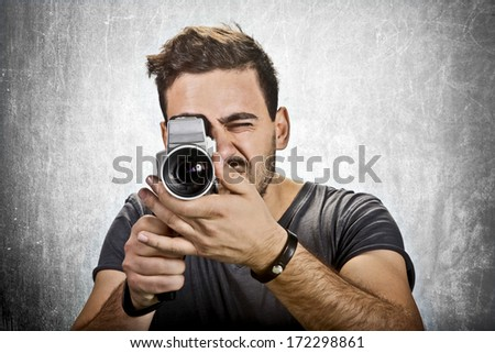 Man with Camera - stock photo