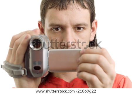 Man with camera on white - stock photo