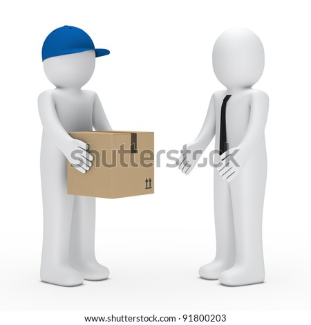Man with cap give a businessman package - stock photo