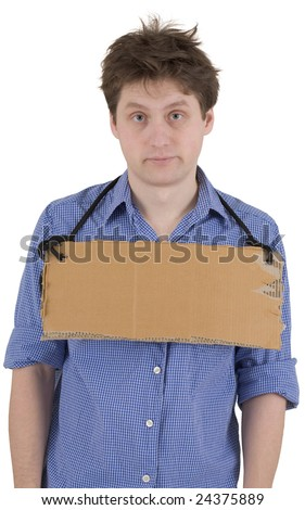 Man with carton tablet hang on neck - stock photo