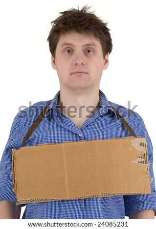 Man with carton tablet on the white background - stock photo