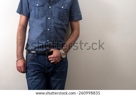 man with casual clothes closeup - stock photo
