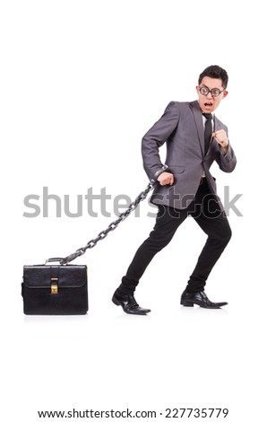 Man with chain isolated on white - stock photo