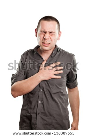 Man  with chest pain - stock photo