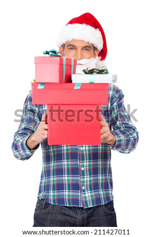 Man with Christmas hat delivering gifts.