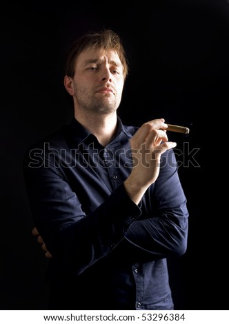 man with cigar - stock photo