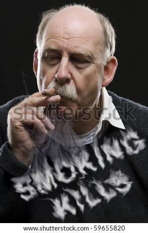 Man with cigar and smoking kills text in smoke - stock photo