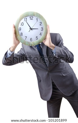 Man with clock isolated on white - stock photo