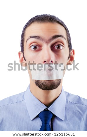 Man with closed lips in censorship concept