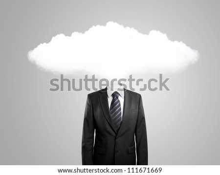 man with cloud instead of head  on gray background - stock photo