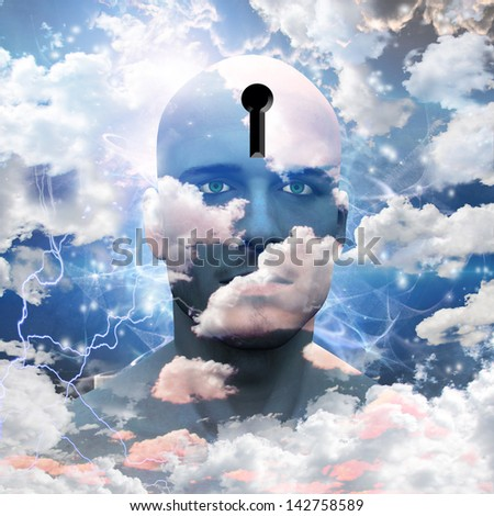 Man with clouds paint and keyhole in head - stock photo