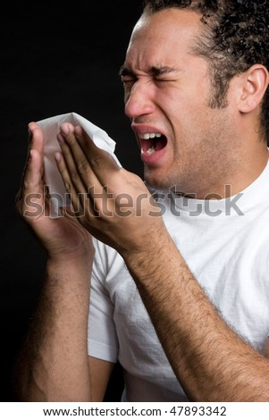 Man With Cold - stock photo