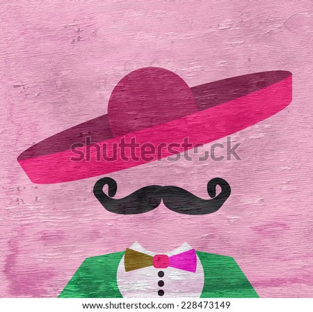 man with colorful sombrero design with wood grain texture - stock photo