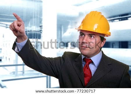 man with construction hat portrait - stock photo