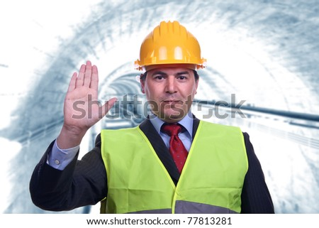 man with construction hat portrait