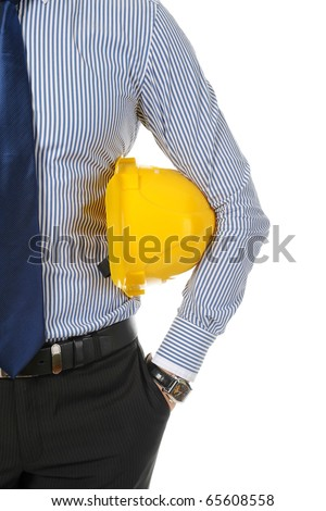 man with construction helmet - stock photo