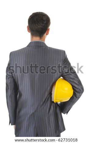 man with construction helmet. Isolated on white background - stock photo