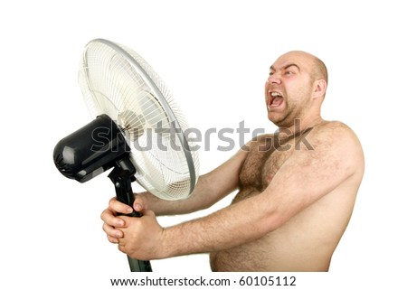 man with cooling fan , closeup, isolated background - stock photo