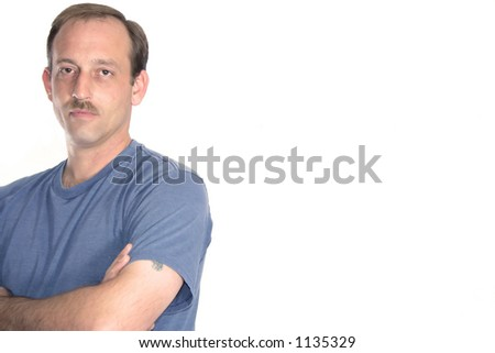 Man with copy space. - stock photo