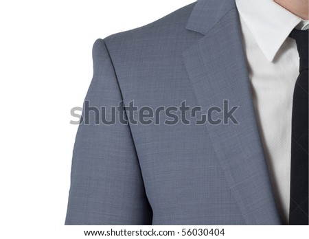 man with costume and black tie, isolated on white (close-up)
