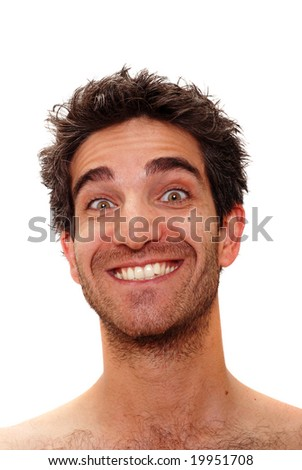 Man with crazy facial expression - stock photo