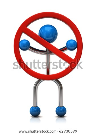 Man with Do Not warning sign - stock photo