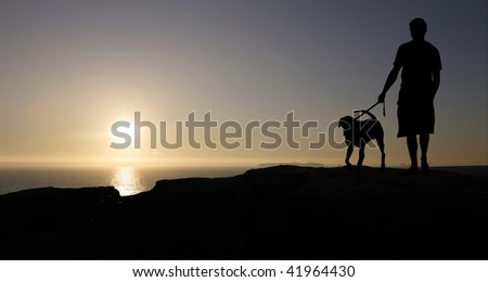 man with dog at sunset - stock photo
