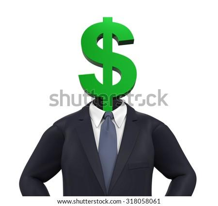 Man with Dollar Symbol Head - stock photo
